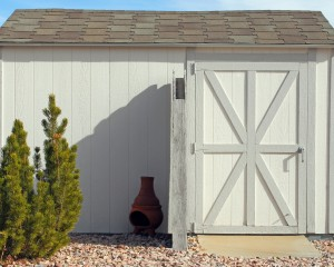Backyard storage shed.